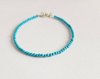 Stacking Turquoise Bracelet,blue  stone jewelry,turqoise Jewelry, simple bracelet,silver turqoise stackable bracelet, blue beads bracelet