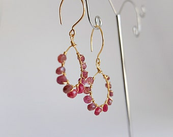 Red ruby,Garnet and agata earrings,hoop gemstone gold filled wrapped earring,boho hoop beaded earrings,ruby jewelry, Hoop Earrings,ombre red