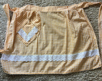 Vintage Yellow Gingham Check Half Apron