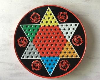 Vintage Chinese Checker/Checker Tin Board