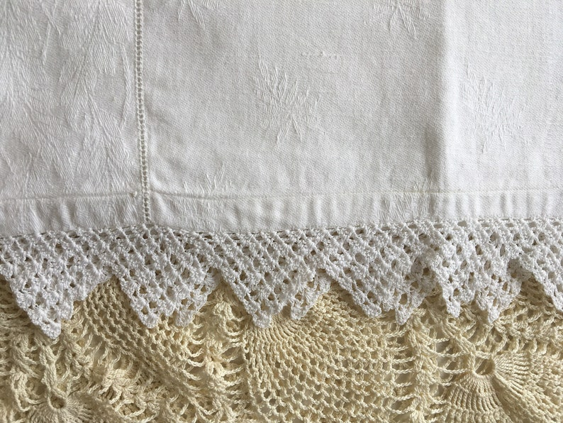 Vintage All White Small Tablecloth and Table Runner