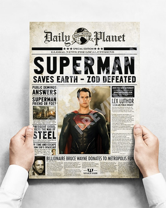 Daily Planet Superman Christopher Reeve Fake Newspaper Poster A3 Size
