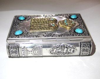 Antique prayer book,small Jewish siddur 1968 sefaradi version,tefillah book,decorated book cover,twelve tribes israel,
