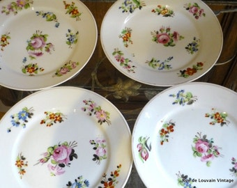Set of 4 antique 1800s hand painted porcelain plates, hand painted flowers, plates painted with roses