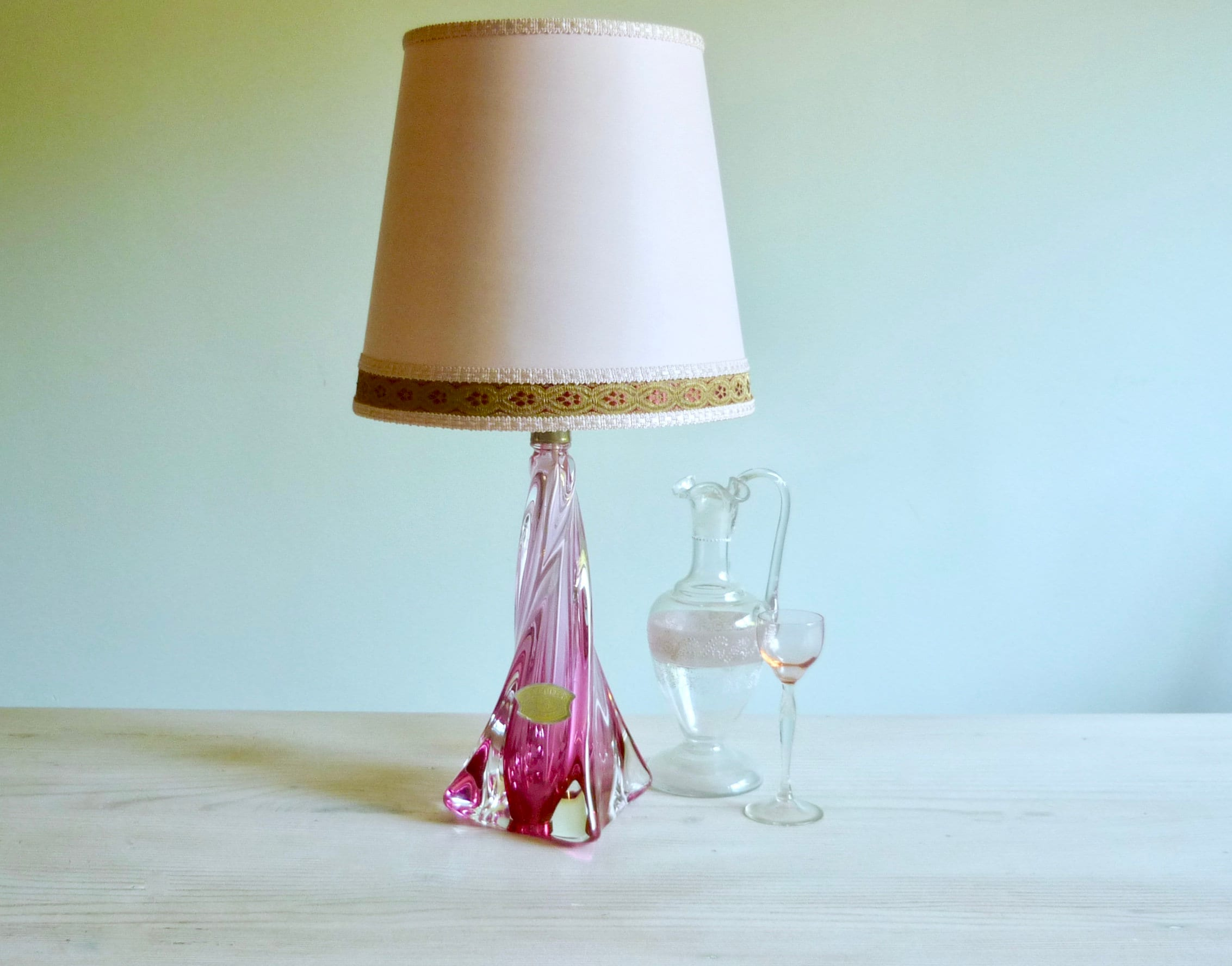 Pink Crystal Table Lamp With Silk Shade Signed Val St Lambert Etsy