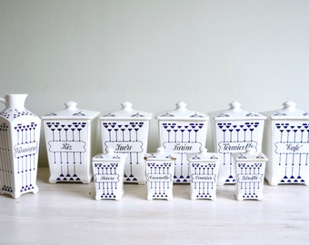 Art Deco French kitchen canisters, 1910-20s vintage ceramic storage pots, vintage French storage jars