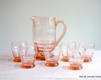 Art Deco pink glass pitcher and six glasses, 1930s drinks set, pink glass jug and glasses