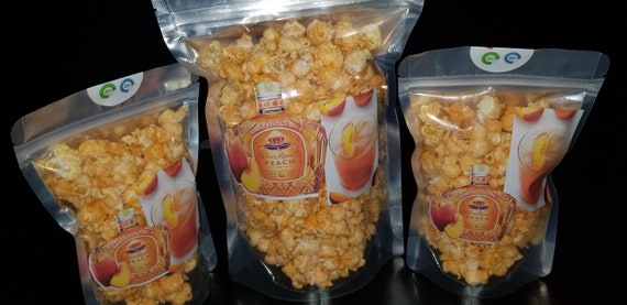 Infused Peach Whiskey Popcorn