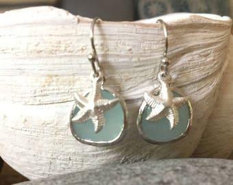Alice Blue Gemstone Earrings with Silver Starfish Starfish Earrings Starfish Jewelry Beach Wedding Bridesmaids Earrings Beach Jewelry Gift