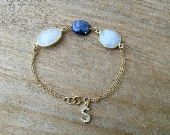 sapphire moonstone bracelet or anklet sapphire moonstone Jewelry cz intial moonstone jewelry 14k gold filled blue moonstone bracelet gift
