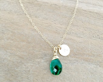 Personalized Emerald Necklace Initial Necklace Initial jewelry Monogram Letter necklace May Birthstone Emerald Jewelry Monogram Necklace May