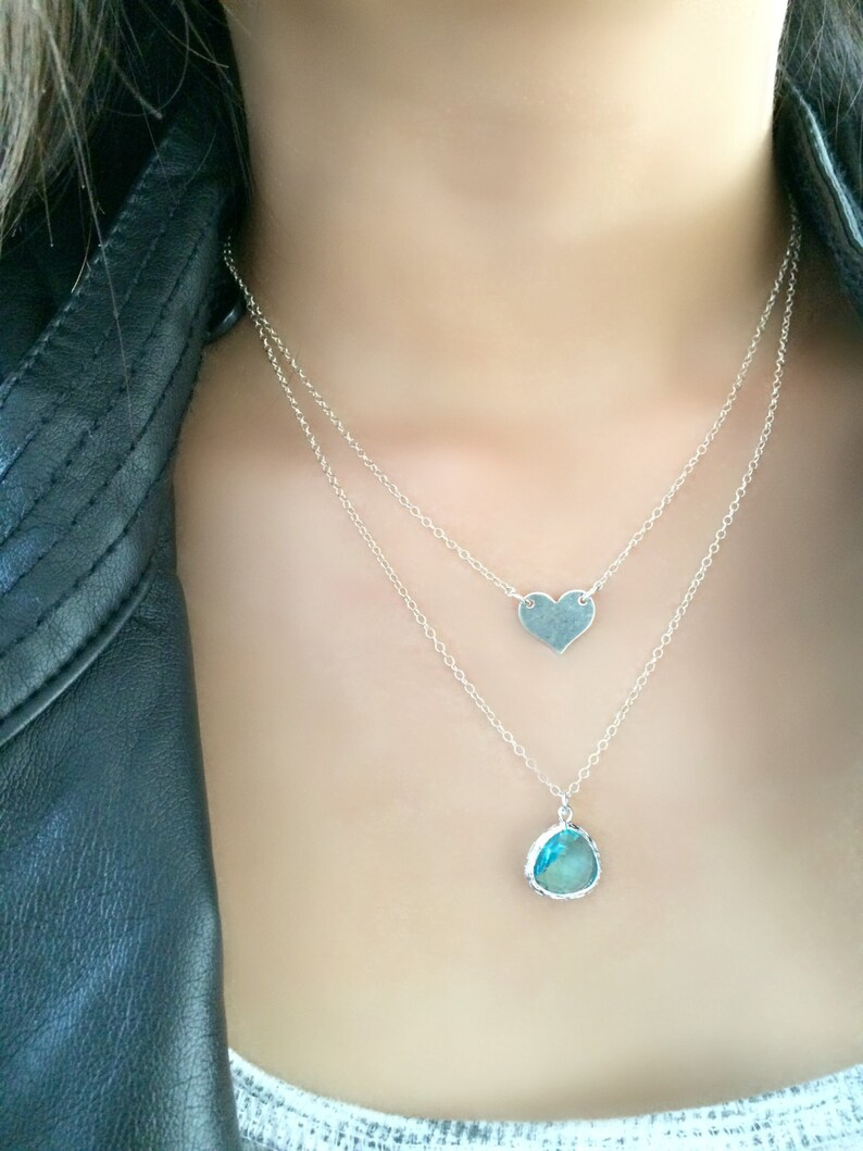 heart necklace monogram necklace personalized layered aqua necklace aqua jewelry 925 sterling silver hand stamped heart monogram jewelry