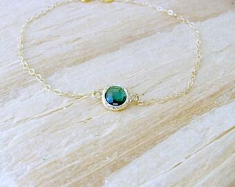Emerald Bracelet 14k Gold Filled Emerald Jewelry Birthstone Bracelet May Birthstone layering Bracelet Green birthstone bracelet May jewelry