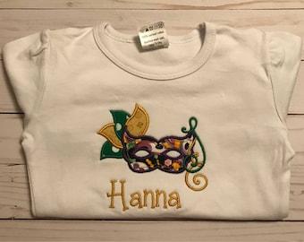 Mardi Gras shirt, girls Mardi Gras shirt, embroidered shirt, personalized mardi gras shirt, custom shirt