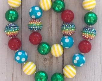 Back to school jewelry set, first day of school chunky bead set, school bubblegum necklace, apple necklace