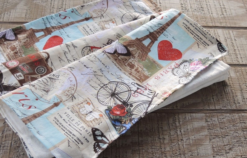 French Postcard Labels Lined Cotton Small Table Runner Spring Home Decor Custom Order Dresser Scarf