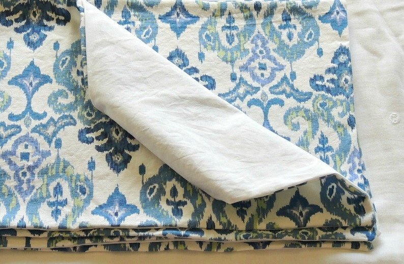 Blue Set of 4 Romantic Farmhouse and White Green Custom Order Cotton Ikat Tribal Lined Placemats Cottage Style Modern Shabby Chic