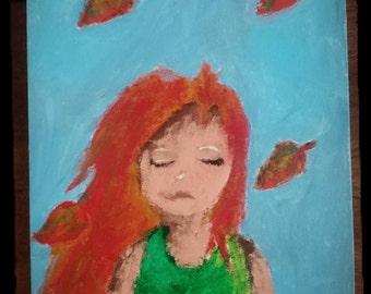 The Autumn Girl-Original acrylic paint on Canvas