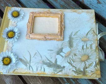 Daisy wedding album,Photo guest book,woodland wedding,Sweet 16 photo album,Flower Album ,wedding gift,