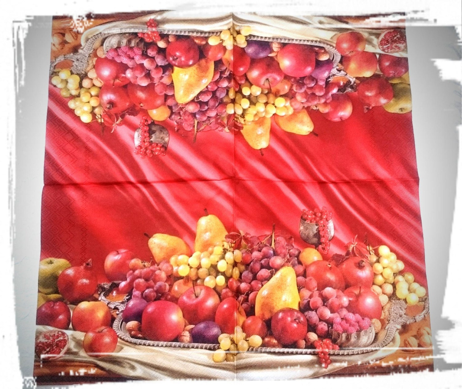 1 Single Decoupage Paper Napkinsplateau With Fruits Red Etsy
