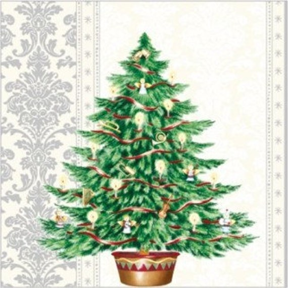 4 Vintage  Paper Napkins for Party Lunch Decoupage Christmas Tree Cream