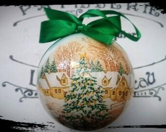 Christmas bauble, Village and Christmas tree,Christmas ornament,Winter Wonderland,Traditional Christmas,Vintage bauble,Merry Christmas, Trad