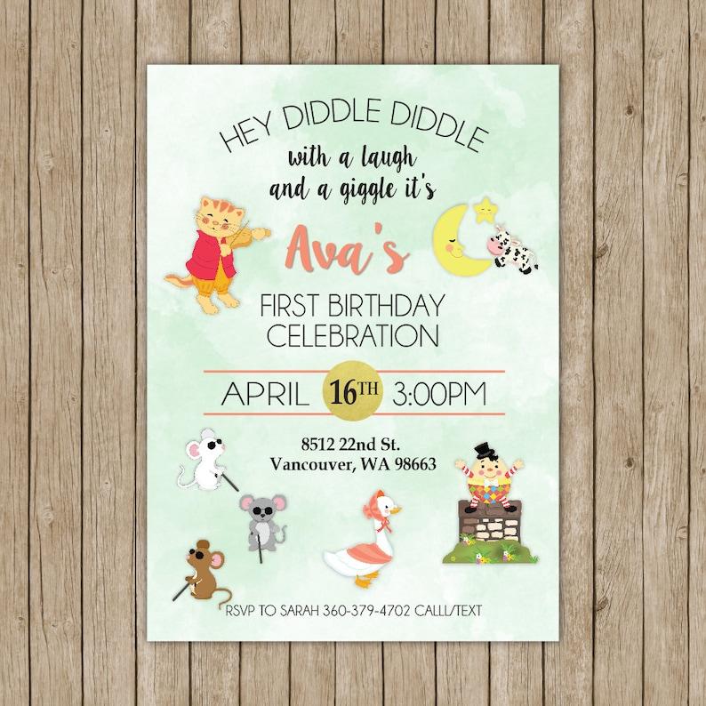 Mother Goose Birthday Invitations Digital File Nursery Rhyme