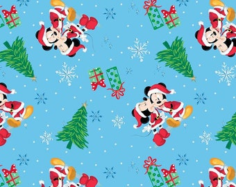 christmas disney fabric mickey and minnie xmas love in blue from springs creative 100 cotton
