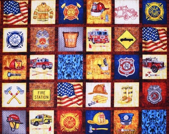 "FIREMEN FABRIC 5 ALARM EVERYTHING FIREFIGHTER PATCHES QUILTING TREASURE  23/""x44/"""