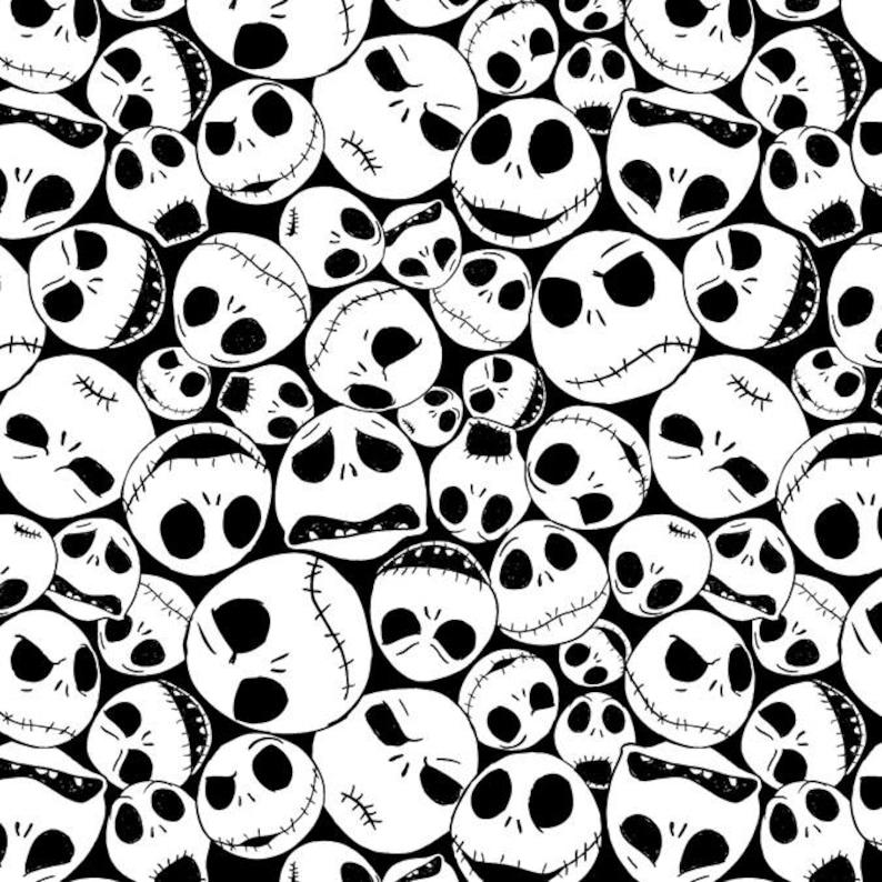 Disney Fabric Nightmare Before Christmas Fabric Jack Faces image 0