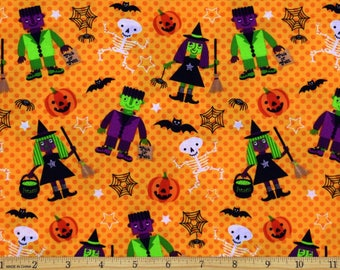 Halloween Character Dots Fabric 100% Cotton