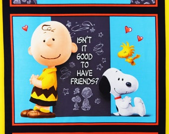 Peanuts Fabric Charlie Brown and Snoopy Good Friends Fabric Charles Schultz From Quilting Treasures 100% Cotton