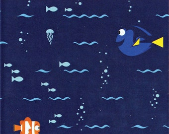 Disney Finding Dory Swimming Navy Blue Fabric From Camelot