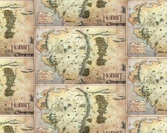 the hobbit and lord of the rings fabric map in tan from camelot 100 cotton