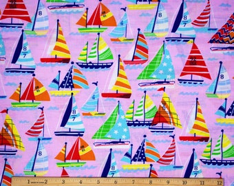 Sailboat Fabric in Pink 100% Cotton