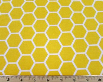 Hexagon  Lemon Yellow Fabric