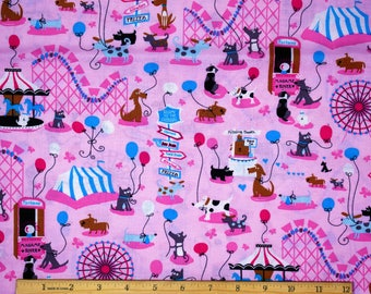 Dogs at the Carnival Fabric in Pink 100% Cotton
