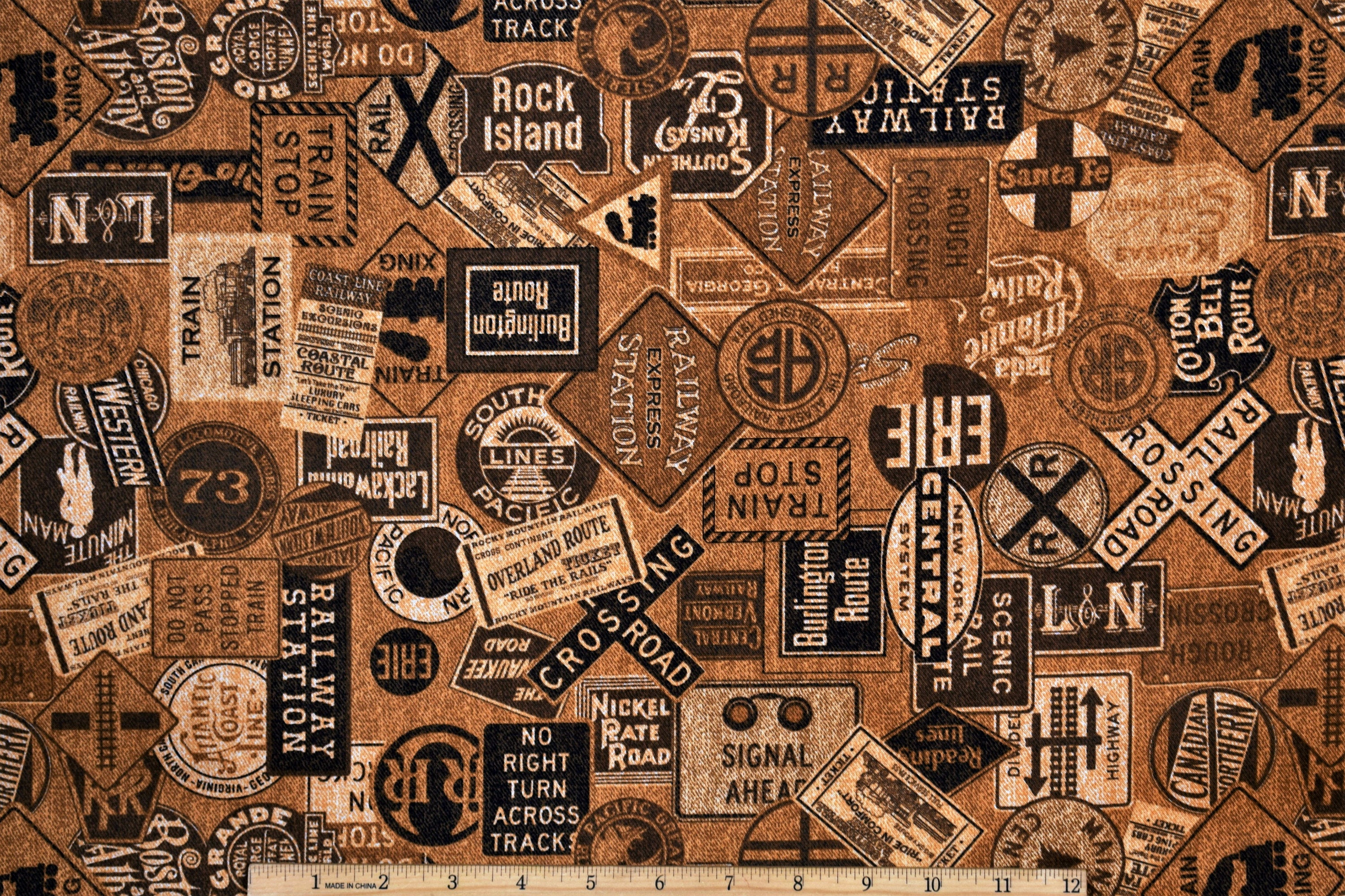Rail Road Fabric Full Steam Ahead Signs Brown From Quilting Treasures 100%  Cotton