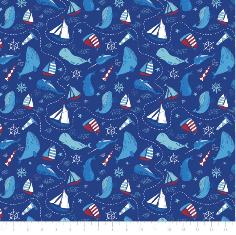 Sail Boat Fabric Ahoy Matey in Blue Fabric From Camelot 100/% Premium Quality Cotton