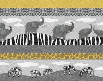 Per Yard, Elephants and Zebra Stripe Fabric By Quilting Treasures