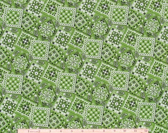 Bandana Fabric Lime Green 100% Cotton