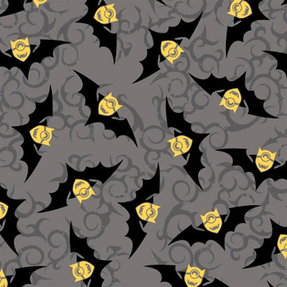 Bite Me Halloween Bats Minions Gray Grey Toss 100/% cotton fabric by the yard