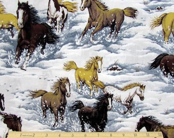 Horse Fabric Snowy River Canyon By the Yard 100% Cotton