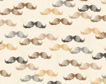Barber Fabric A Close Shave Fabric Mustache Cream From Quilting Treasures 100% Cotton