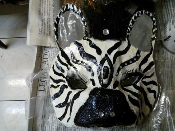 Zebra Paper Mache Half Face Mask