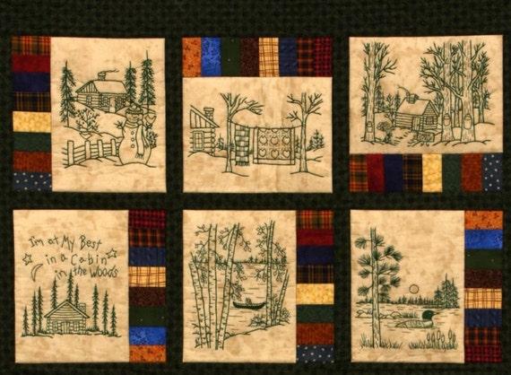 Northwoods Memories Quilt Pattern 12 Redwork Hand