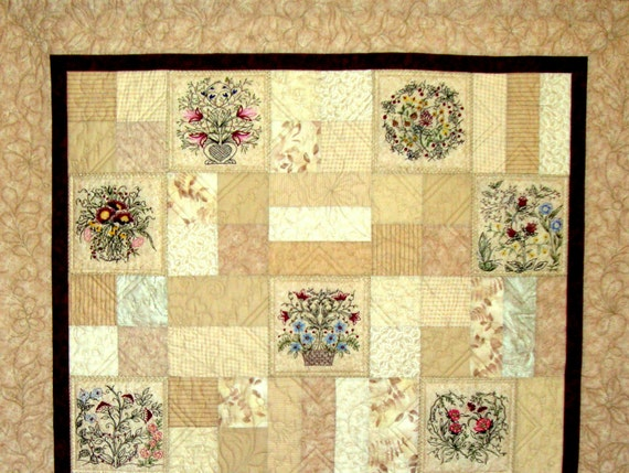 Hearts And Vines Quilt Pattern With 10 Floral Hand Etsy