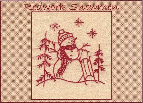 PATTERN Woodland Snowman Redwork Stocking fun Christmas stitchery PATTERN