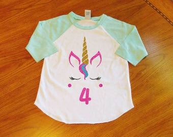 Unicorn Birthday Shirt 4th Girl Fourth Toddler Outfit Girls