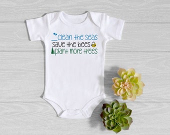 Plant Trees Bumblebees Environmentally Friendly Home Save the Bees One Piece Infant Bodysuit  Newborn Gender Neutral Baby Shower Gift